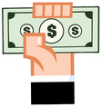 hand with cash vector image vector image