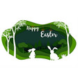 happy easter with white rabbits on green nature vector image vector image