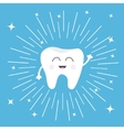Healthy tooth icon Smiling face Round line vector image vector image