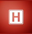 hospital sign icon isolated on red background vector image