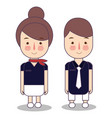 kids in professions cartoon airplane cabin crew vector image