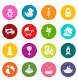 kids toys icons set colorful circles vector image
