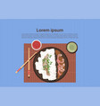 korean food plate with rice and spicy sauces asian vector image