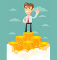 Man proudly standing on the huge money staircase