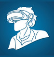 man wearing virtual reality glasses cartoon vector image