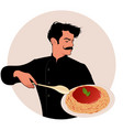 moustached chef carrying a plate of spaghetti and vector image vector image