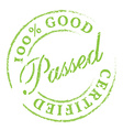 Passed Green rubber stamp on white vector image