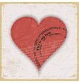 Pink heart with print on a vintage background vector image vector image