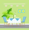 restaurant interior design table dinner setting vector image vector image