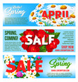 sale banners of springtime floral design vector image vector image