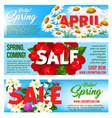 sale banners springtime floral design vector image