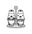 salt and pepper containers monochrome kawaii vector image vector image