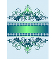 Satin green ornament with stripes and ribbon vector image vector image
