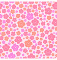 seamless pattern of cute pink and orange flowers vector image vector image