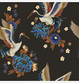 seamless pattern with mandarin ducks flowers vector image vector image