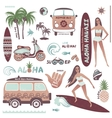 Set vintage style hawaiian summer icons surf
