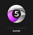 silver number five logo in silver-purple circle vector image vector image