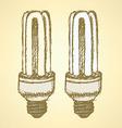 Sketch economic light bulb in vintage style vector image vector image