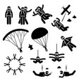skydiving skydives skydiver parachute wingsuit vector image vector image