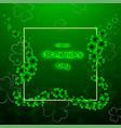 stpatricks day with shamrock on green vector image