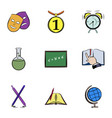 student icons set cartoon style vector image