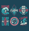 summer surfing print set with surfer shaka tiki vector image vector image