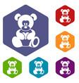 teddy bear holding a heart icons set hexagon vector image vector image