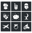 Terrorism icons vector image vector image