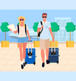 travelers arrival tourists in airport vector image vector image