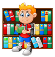 boy in library vector image