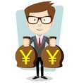 Successful businessman with bags of money vector image