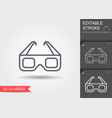 3d cinema glasses line icon with editable stroke vector image