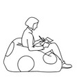 a woman sitting on soft pouf with round decor vector image vector image