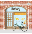 bakery shop building facade of red bricks vector image vector image