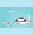 banner with electric car charging station electro vector image vector image