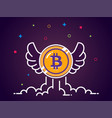 bitcoin with wings flat bitcoin icon vector image