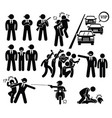 bodyguard protecting vip boss from paparazzi vector image