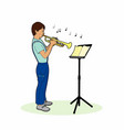 boy playing a trumpet vector image