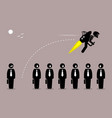 businessman flying away with a jetpack from his vector image