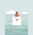 christmas card polar bear vector image vector image