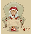 Christmas Monkey Santa is sitting in chair vector image vector image