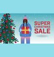 christmas sale banner with vector image vector image