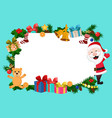 christmas tree branches gifts and santa peeking vector image