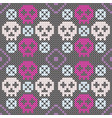 colorful skull pattern with embroidery style vector image vector image