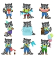 Cute Boy Raccoon Cartoon Set vector image vector image