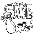 doodle sake rice flask cup bottle vector image vector image