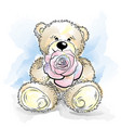 drawing teddy bear with flower vector image vector image