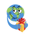 Earth Day Earth and gift Holiday yellow box with vector image vector image