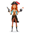 emotional red-haired pirate girl holding a bomb vector image vector image