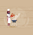 female african american chef cook holding kebab vector image vector image